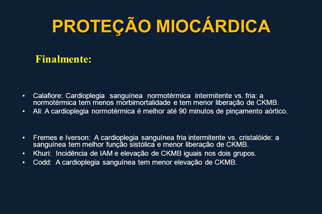 Calafiore: Cardioplegia sanguínea normotérmica intermitente vs. fria: a normotérmica tem menos morbimortalidade e tem menor liberação de CKMB. Ali: A