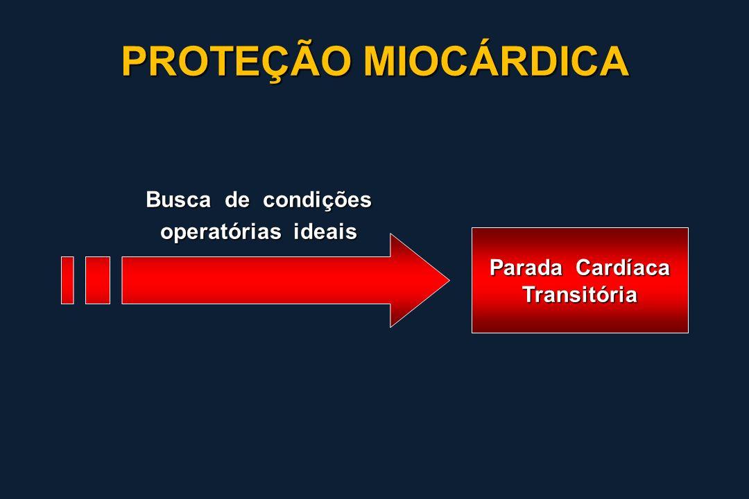Cardioplegia Sanguínea Contínua Fria Quente Pacientes 133121 IAM 6,8% 1,7%* Baixo débito13,5%3,3%* BIA 9,0%0,9% Lichtenstein J Thorac Cardiovasc Surg 1991;101:269-74 PROTEÇÃO MIOCÁRDICA