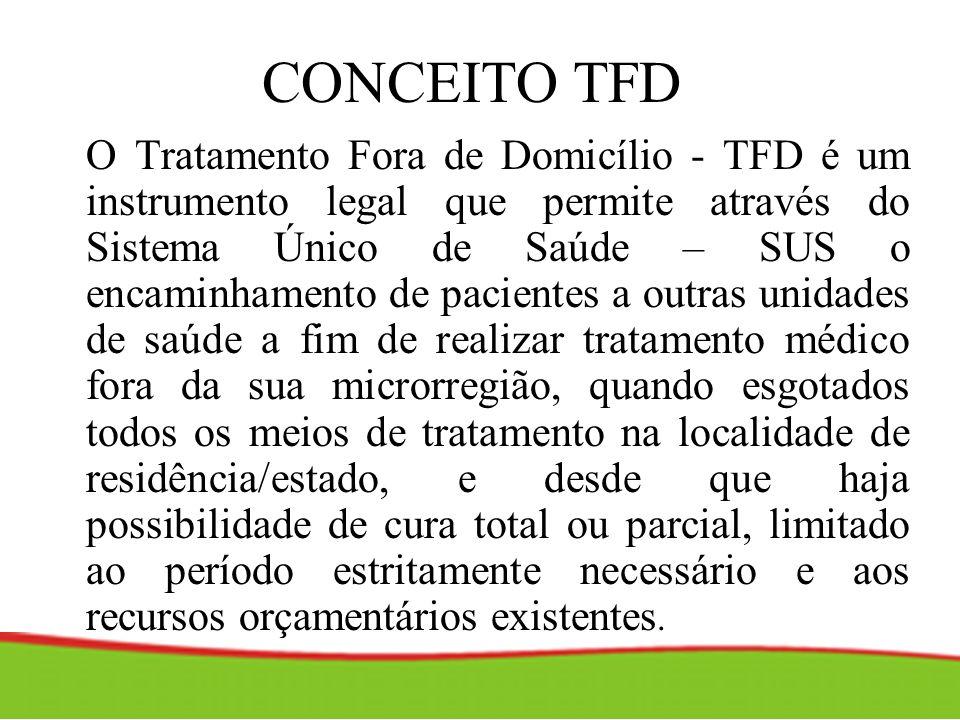CONCEITO TFD O Tratamento Fora de Domicílio - TFD é um instrumento legal que permite através do Sistema Único de Saúde – SUS o encaminhamento de pacie