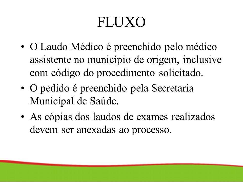 FLUXO O Laudo Médico é preenchido pelo médico assistente no município de origem, inclusive com código do procedimento solicitado. O pedido é preenchid