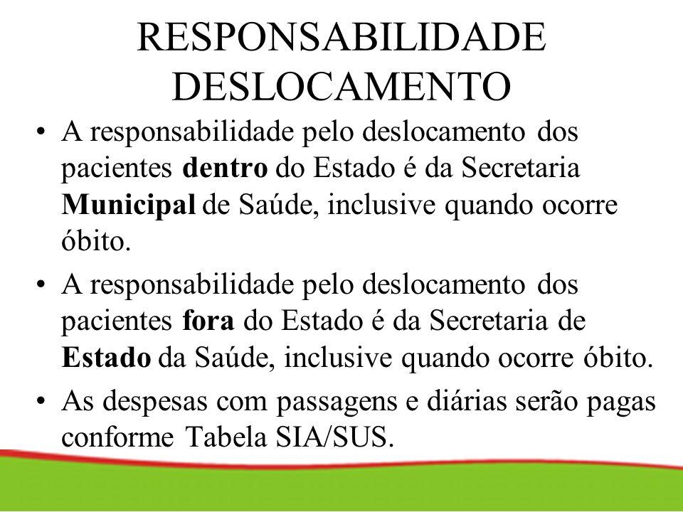 RESPONSABILIDADE DESLOCAMENTO A responsabilidade pelo deslocamento dos pacientes dentro do Estado é da Secretaria Municipal de Saúde, inclusive quando