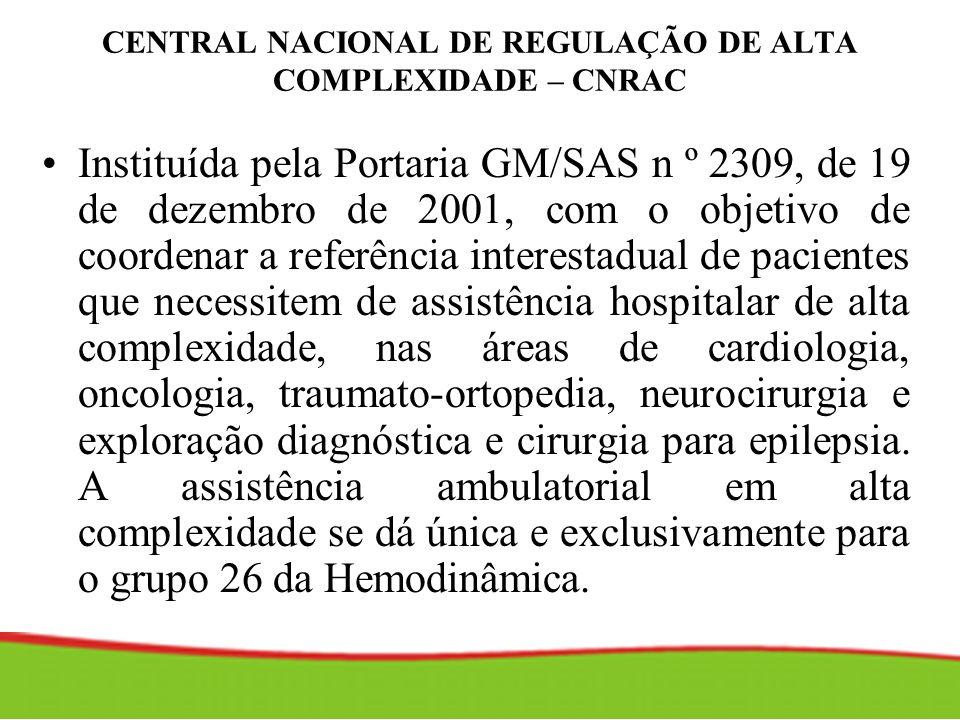 CENTRAL NACIONAL DE REGULAÇÃO DE ALTA COMPLEXIDADE – CNRAC Instituída pela Portaria GM/SAS n º 2309, de 19 de dezembro de 2001, com o objetivo de coor
