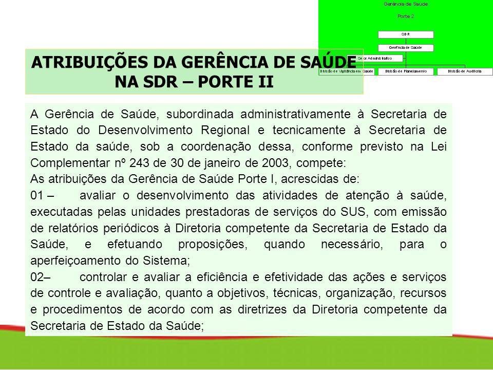 ATRIBUIÇÕES DA GERÊNCIA DE SAÚDE NA SDR – PORTE II A Gerência de Saúde, subordinada administrativamente à Secretaria de Estado do Desenvolvimento Regi