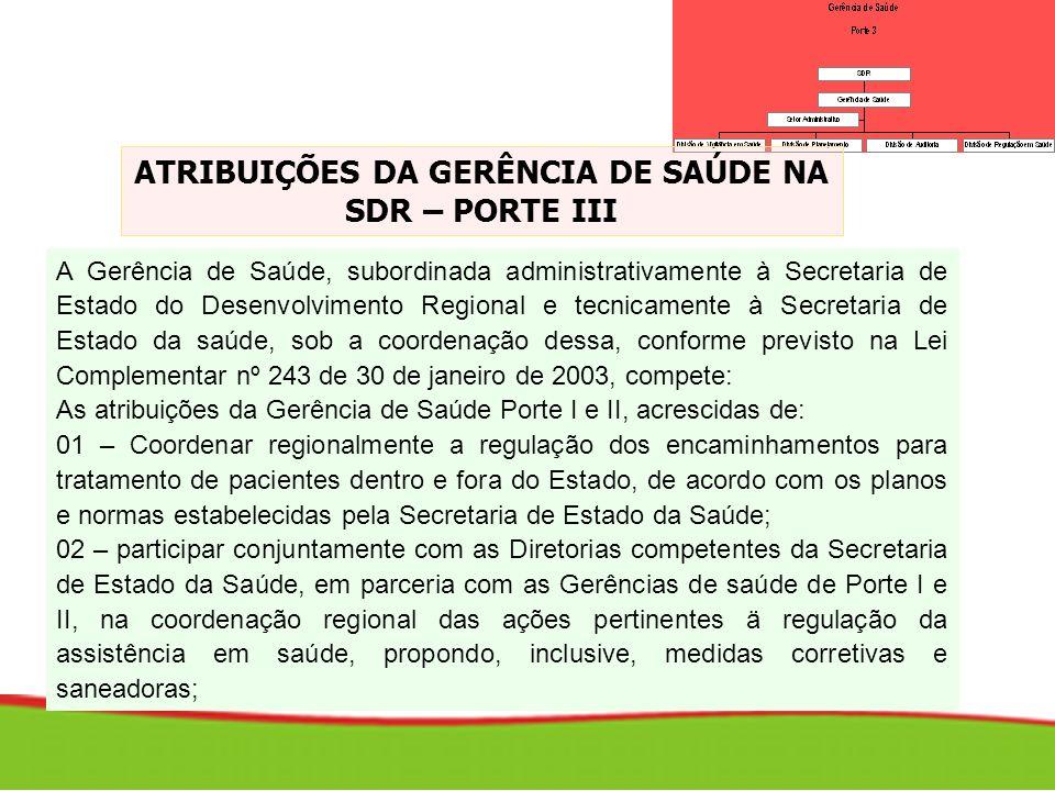 A Gerência de Saúde, subordinada administrativamente à Secretaria de Estado do Desenvolvimento Regional e tecnicamente à Secretaria de Estado da saúde