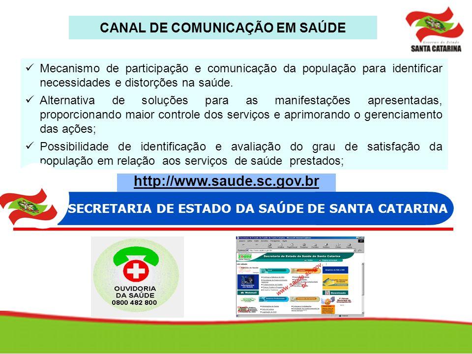 www.saude.sc.gov. br Mecanismo de participação e comunicação da população para identificar necessidades e distorções na saúde. Alternativa de soluções