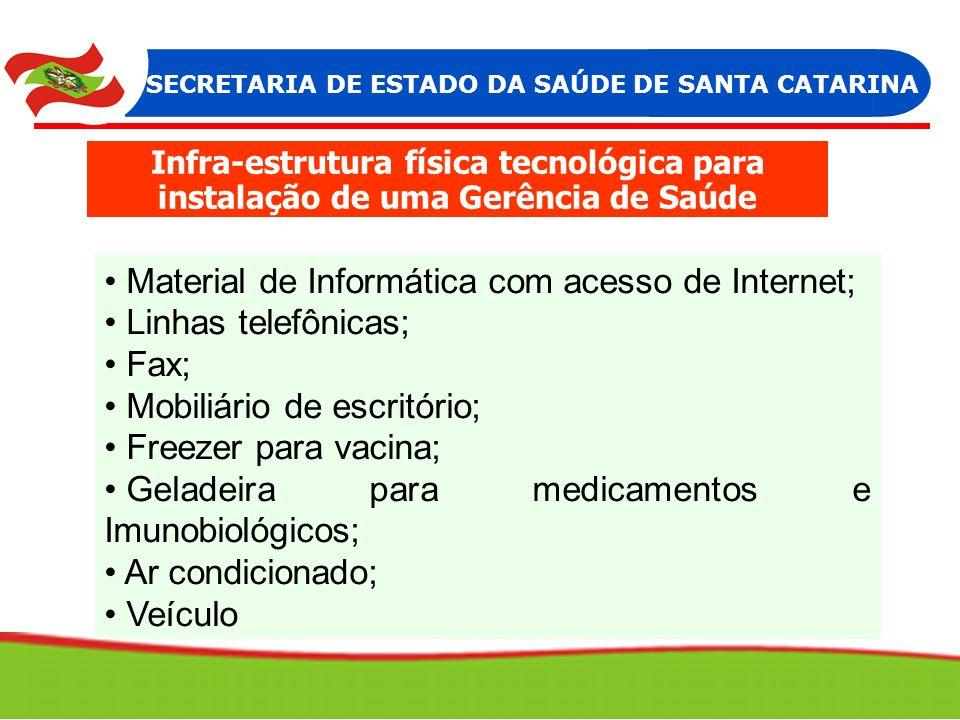 Material Material de Informática com acesso de Internet; Linhas telefônicas; Fax; Mobiliário de escritório; Freezer para vacina; Geladeira para medica