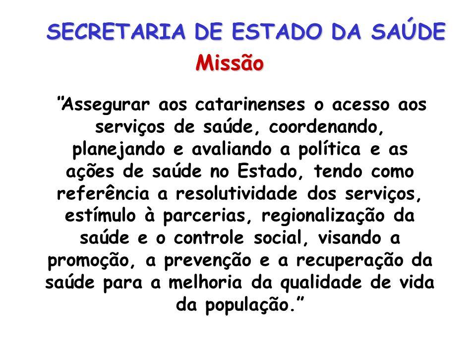 SECRETARIA DE ESTADO DA SAÚDE Missão Assegurar aos catarinenses o acesso aos serviços de saúde, coordenando, planejando e avaliando a política e as aç