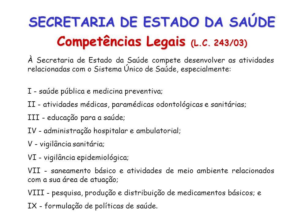 SECRETARIA DE ESTADO DA SAÚDE Competências Legais (L.C. 243/03) À Secretaria de Estado da Saúde compete desenvolver as atividades relacionadas com o S