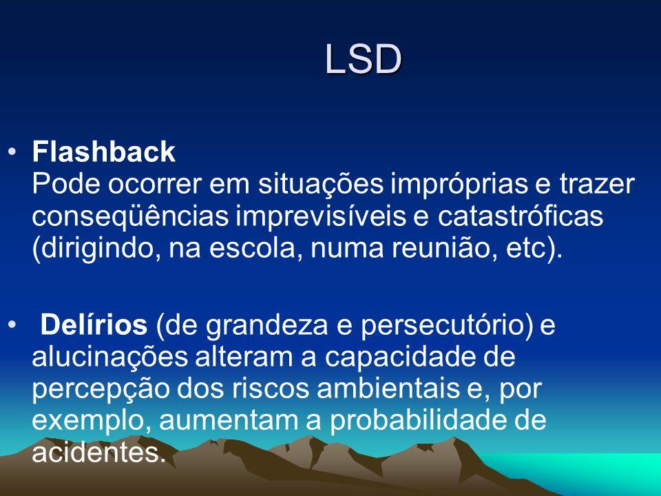LSD Flashback Pode ocorrer em situações impróprias e trazer conseqüências imprevisíveis e catastróficas (dirigindo, na escola, numa reunião, etc). Del