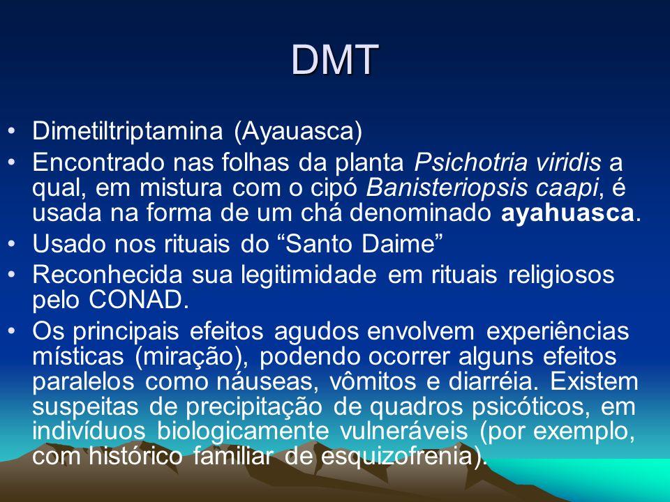 DMT Dimetiltriptamina (Ayauasca) Encontrado nas folhas da planta Psichotria viridis a qual, em mistura com o cipó Banisteriopsis caapi, é usada na for