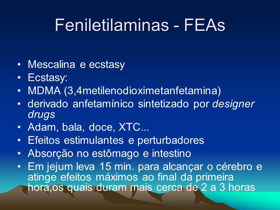 Feniletilaminas - FEAs Mescalina e ecstasy Ecstasy: MDMA (3,4metilenodioximetanfetamina) derivado anfetamínico sintetizado por designer drugs Adam, ba