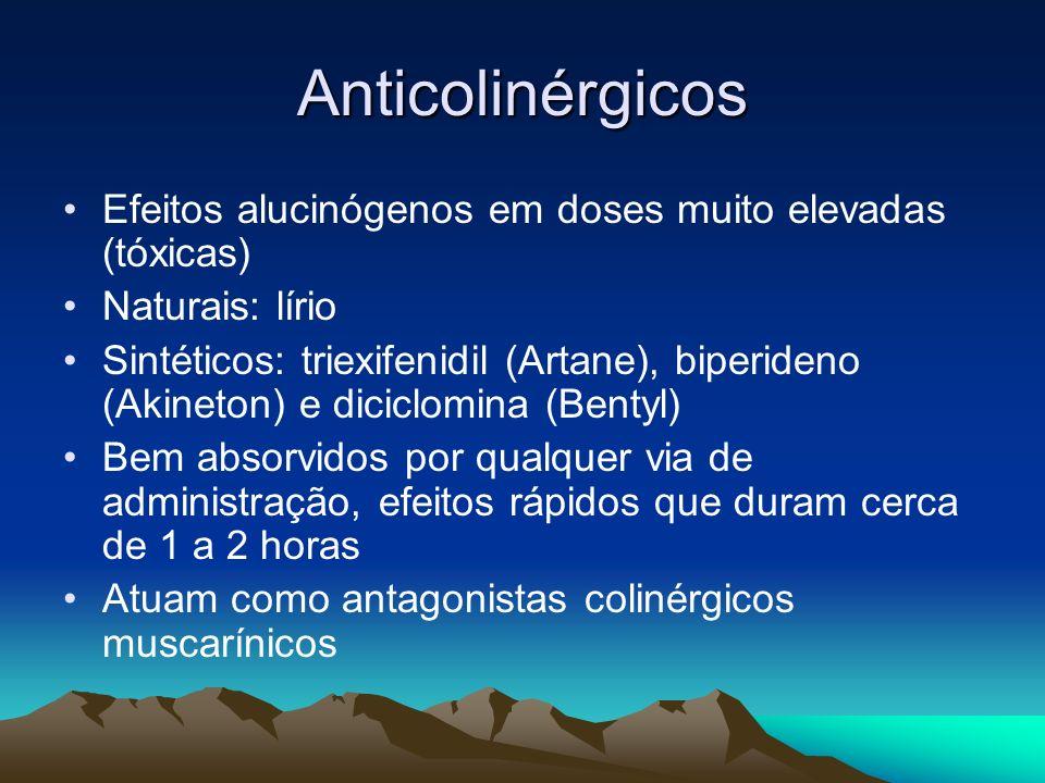 Anticolinérgicos Efeitos alucinógenos em doses muito elevadas (tóxicas) Naturais: lírio Sintéticos: triexifenidil (Artane), biperideno (Akineton) e di