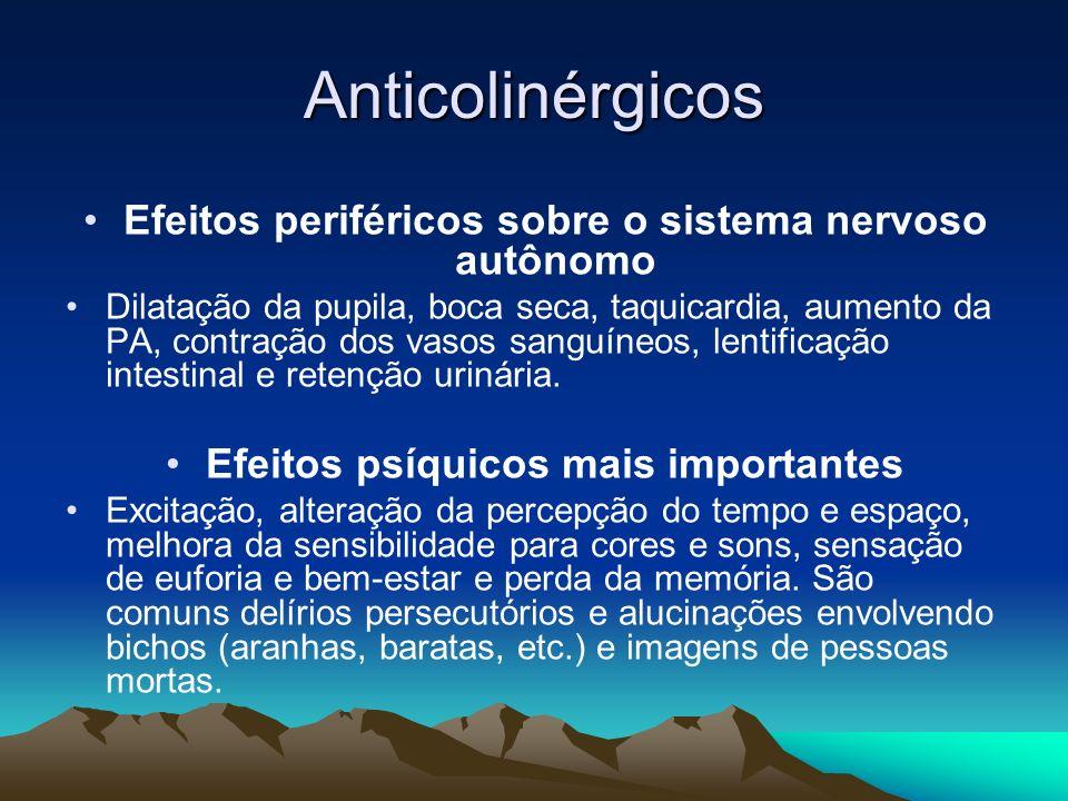 Anticolinérgicos Efeitos periféricos sobre o sistema nervoso autônomo Dilatação da pupila, boca seca, taquicardia, aumento da PA, contração dos vasos