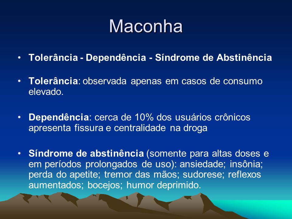 Maconha Tolerância - Dependência - Síndrome de Abstinência Tolerância: observada apenas em casos de consumo elevado. Dependência: cerca de 10% dos usu