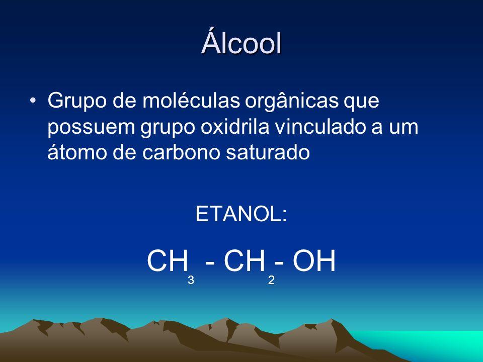 Álcool Grupo de moléculas orgânicas que possuem grupo oxidrila vinculado a um átomo de carbono saturado ETANOL: CH - CH - OH 3 2
