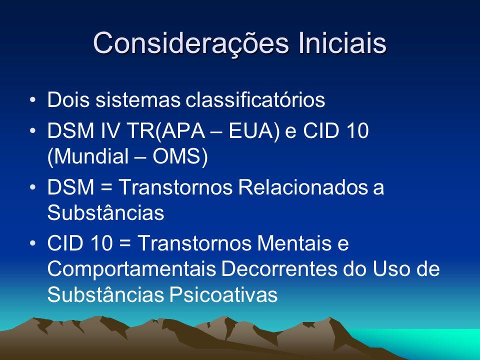 Considerações Iniciais Dois sistemas classificatórios DSM IV TR(APA – EUA) e CID 10 (Mundial – OMS) DSM = Transtornos Relacionados a Substâncias CID 1