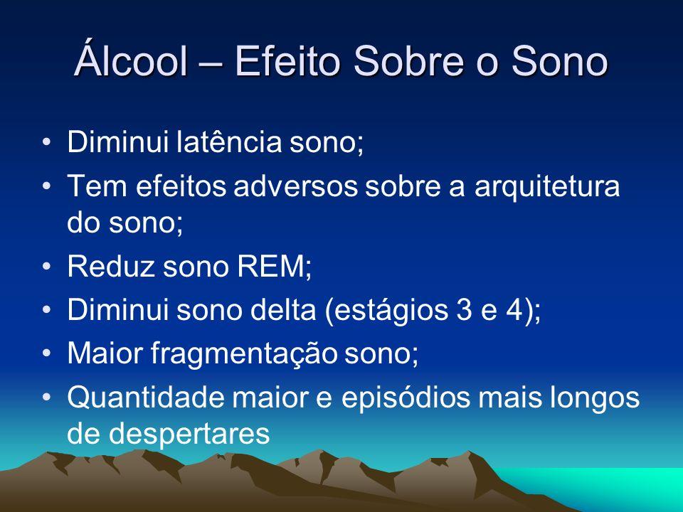 Álcool – Efeito Sobre o Sono Diminui latência sono; Tem efeitos adversos sobre a arquitetura do sono; Reduz sono REM; Diminui sono delta (estágios 3 e