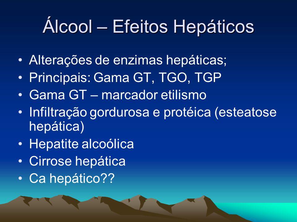 Álcool – Efeitos Hepáticos Alterações de enzimas hepáticas; Principais: Gama GT, TGO, TGP Gama GT – marcador etilismo Infiltração gordurosa e protéica