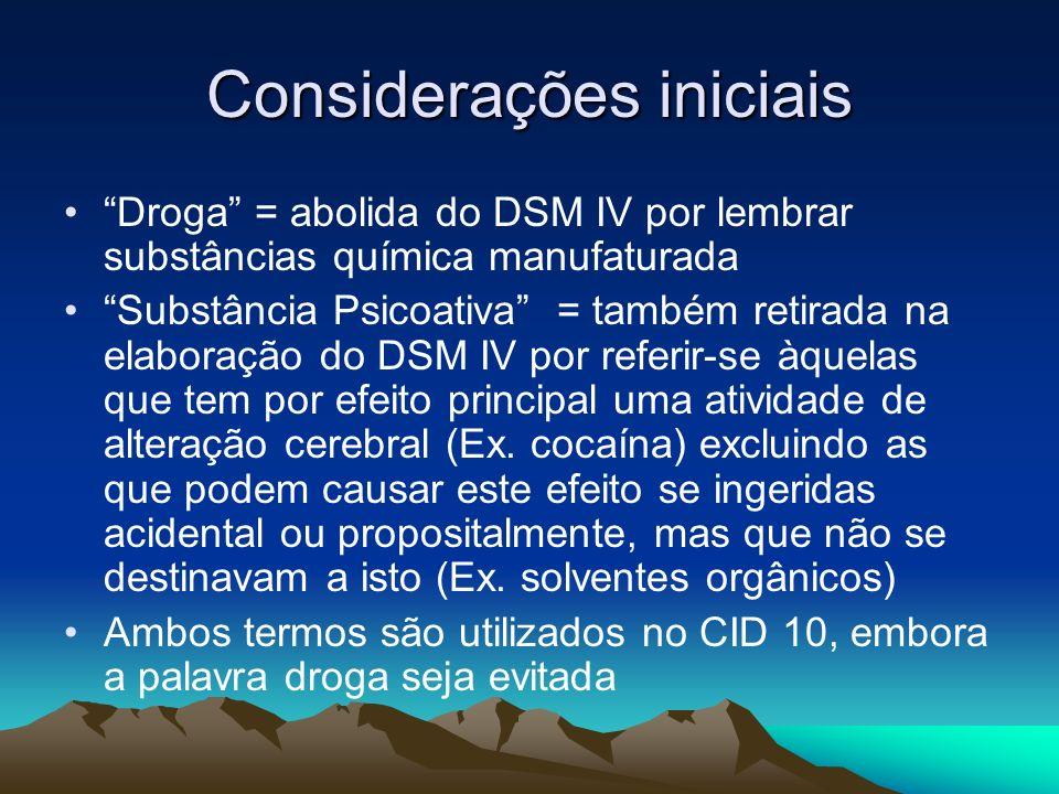 Considerações iniciais Droga = abolida do DSM IV por lembrar substâncias química manufaturada Substância Psicoativa = também retirada na elaboração do