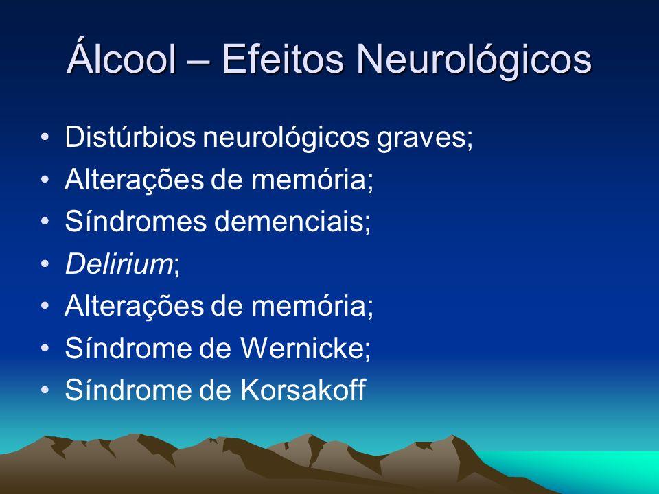 Álcool – Efeitos Neurológicos Distúrbios neurológicos graves; Alterações de memória; Síndromes demenciais; Delirium; Alterações de memória; Síndrome d