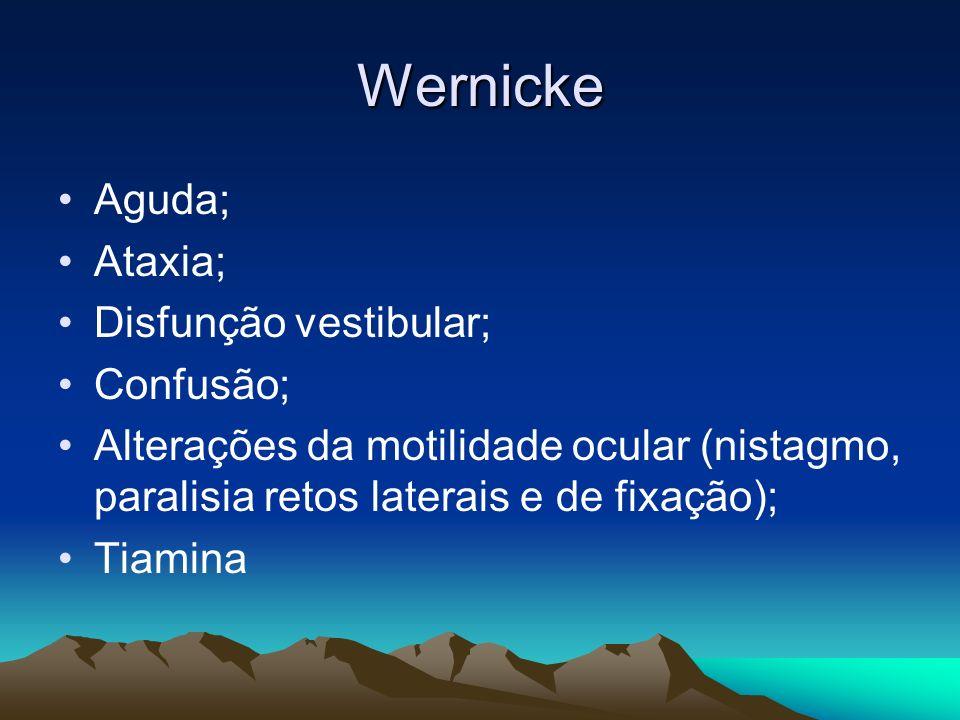 Wernicke Aguda; Ataxia; Disfunção vestibular; Confusão; Alterações da motilidade ocular (nistagmo, paralisia retos laterais e de fixação); Tiamina