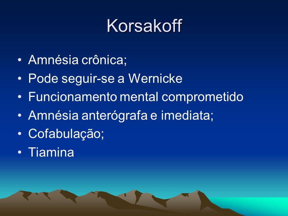 Korsakoff Amnésia crônica; Pode seguir-se a Wernicke Funcionamento mental comprometido Amnésia anterógrafa e imediata; Cofabulação; Tiamina