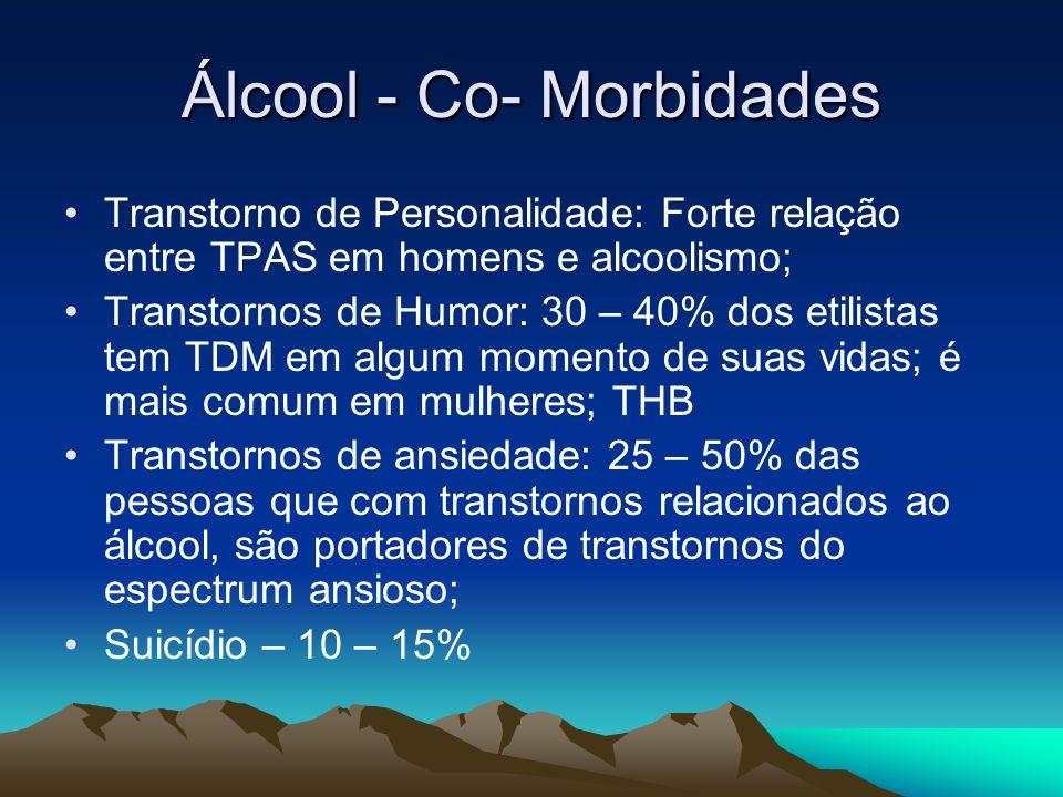 Álcool - Co- Morbidades Transtorno de Personalidade: Forte relação entre TPAS em homens e alcoolismo; Transtornos de Humor: 30 – 40% dos etilistas tem