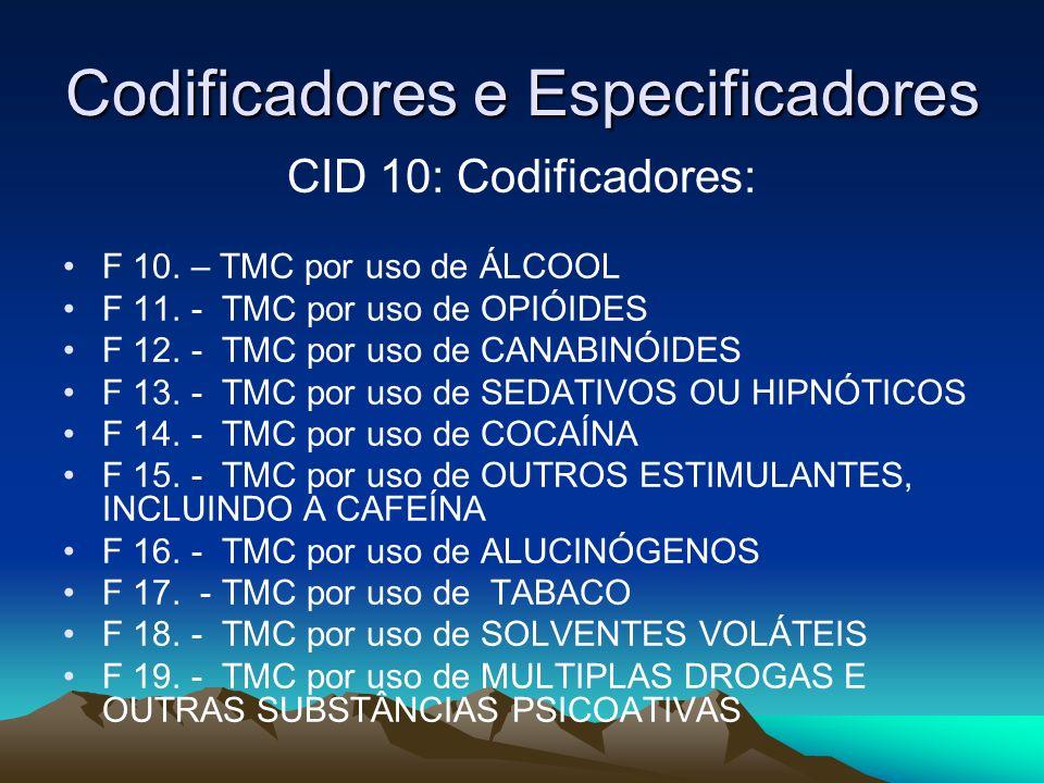 Codificadores e Especificadores CID 10: Codificadores: F 10. – TMC por uso de ÁLCOOL F 11. - TMC por uso de OPIÓIDES F 12. - TMC por uso de CANABINÓID