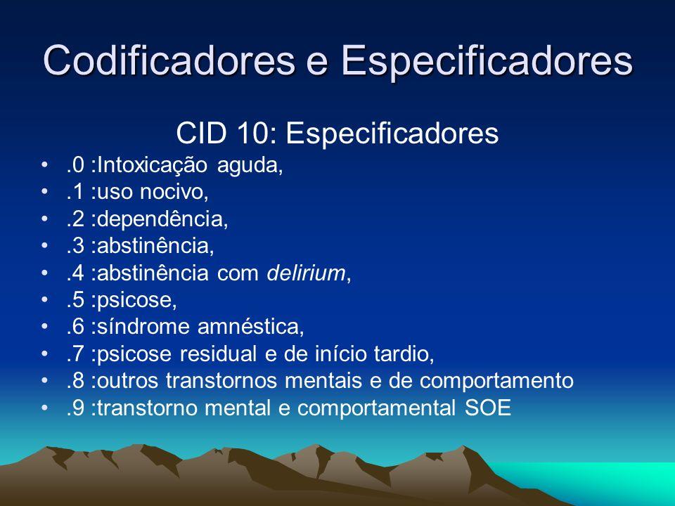 Codificadores e Especificadores CID 10: Especificadores.0 :Intoxicação aguda,.1 :uso nocivo,.2 :dependência,.3 :abstinência,.4 :abstinência com deliri