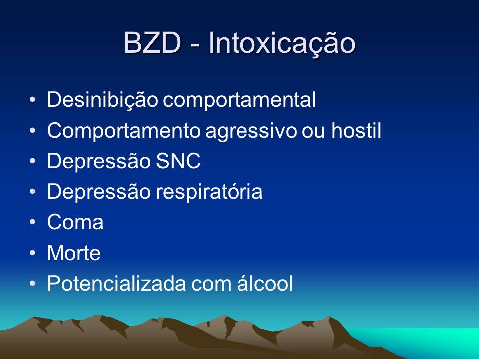 BZD - Intoxicação Desinibição comportamental Comportamento agressivo ou hostil Depressão SNC Depressão respiratória Coma Morte Potencializada com álco