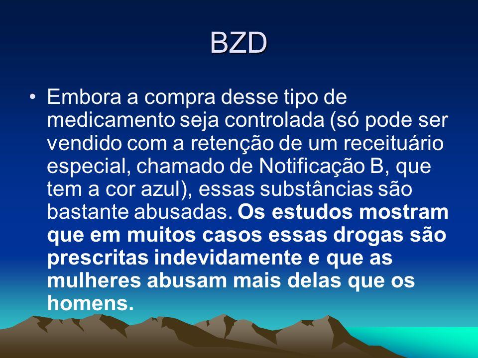 BZD Embora a compra desse tipo de medicamento seja controlada (só pode ser vendido com a retenção de um receituário especial, chamado de Notificação B