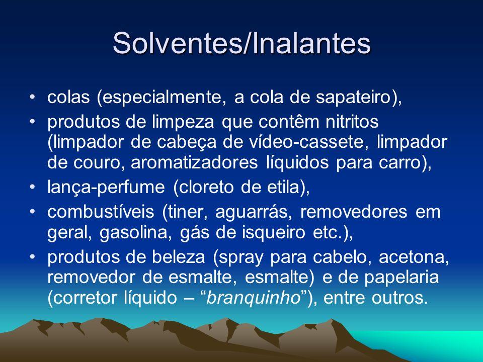 Solventes/Inalantes colas (especialmente, a cola de sapateiro), produtos de limpeza que contêm nitritos (limpador de cabeça de vídeo-cassete, limpador