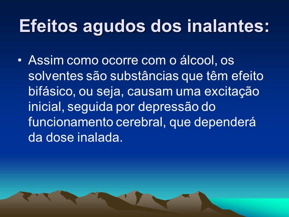 Efeitos agudos dos inalantes: Assim como ocorre com o álcool, os solventes são substâncias que têm efeito bifásico, ou seja, causam uma excitação inic