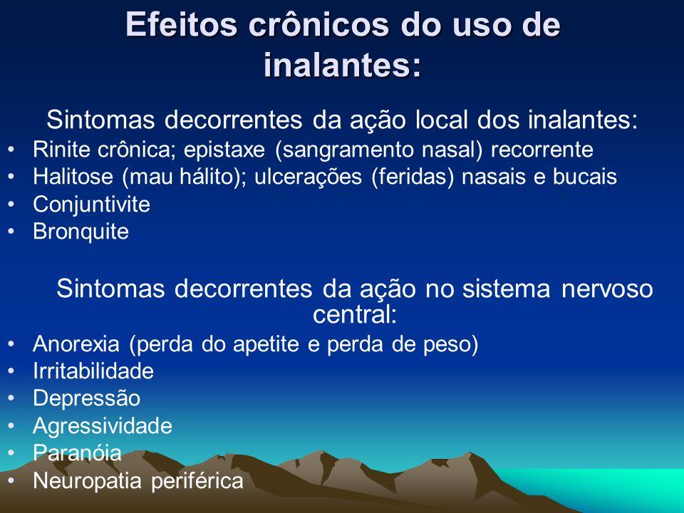 Efeitos crônicos do uso de inalantes: Sintomas decorrentes da ação local dos inalantes: Rinite crônica; epistaxe (sangramento nasal) recorrente Halito