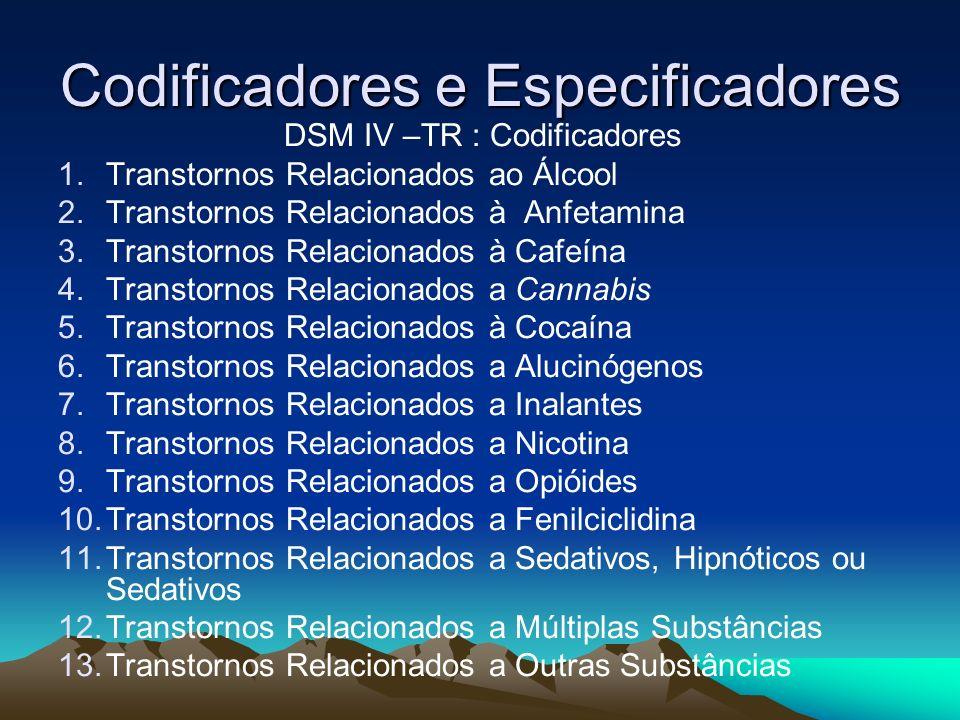 Codificadores e Especificadores DSM IV –TR : Codificadores 1.Transtornos Relacionados ao Álcool 2.Transtornos Relacionados à Anfetamina 3.Transtornos