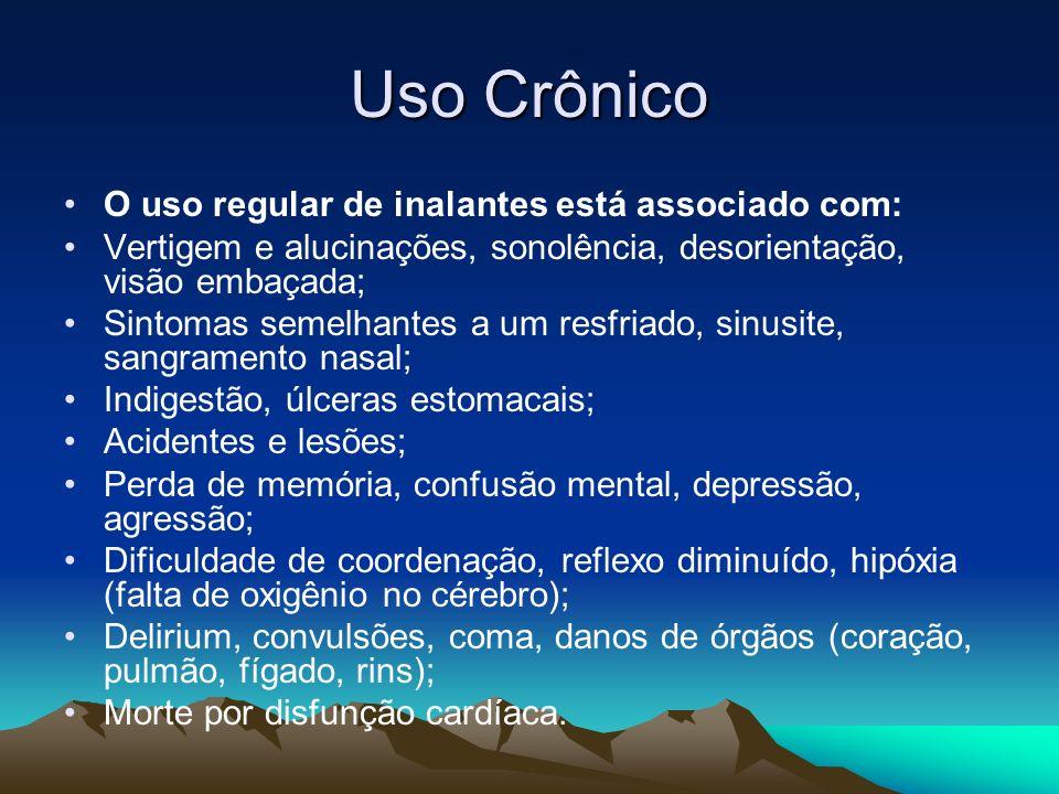 Uso Crônico O uso regular de inalantes está associado com: Vertigem e alucinações, sonolência, desorientação, visão embaçada; Sintomas semelhantes a u