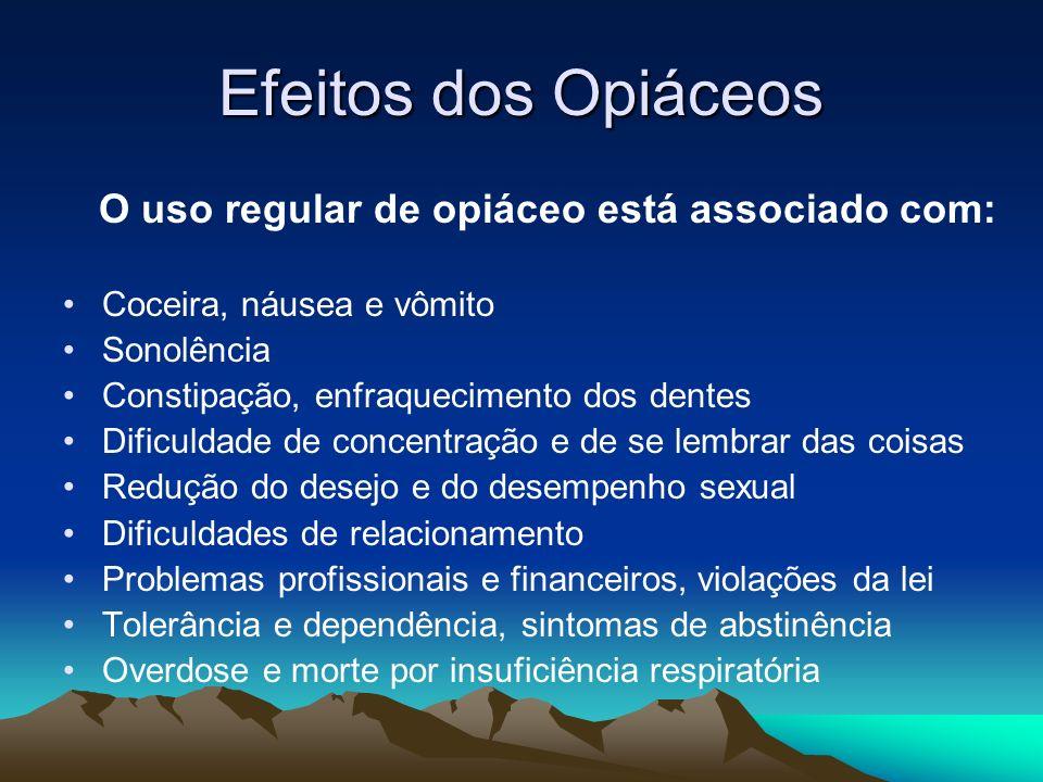 Efeitos dos Opiáceos O uso regular de opiáceo está associado com: Coceira, náusea e vômito Sonolência Constipação, enfraquecimento dos dentes Dificuld