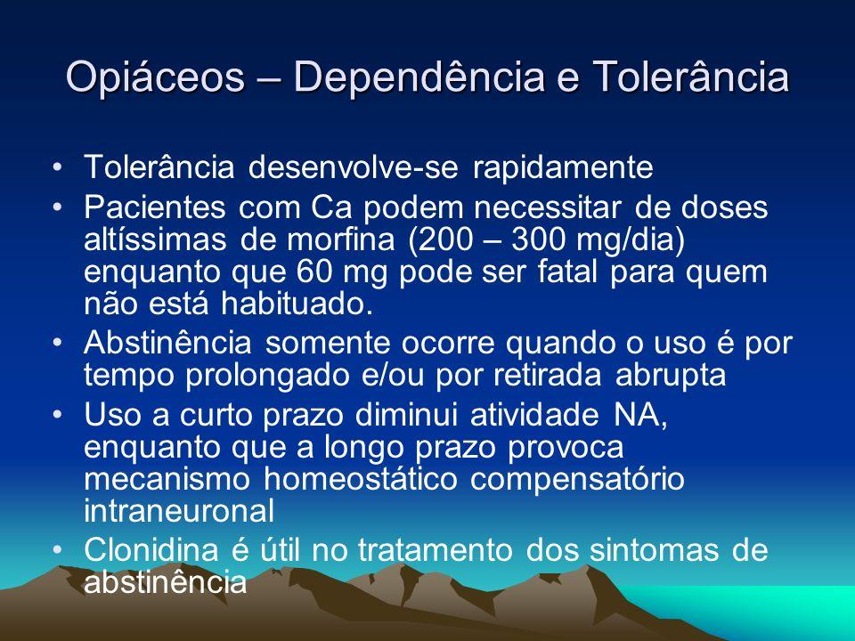 Opiáceos – Dependência e Tolerância Tolerância desenvolve-se rapidamente Pacientes com Ca podem necessitar de doses altíssimas de morfina (200 – 300 m