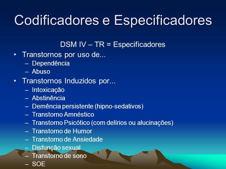 Codificadores e Especificadores DSM IV – TR = Especificadores Transtornos por uso de... –Dependência –Abuso Transtornos Induzidos por... –Intoxicação