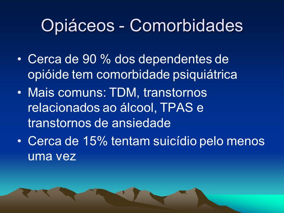 Opiáceos - Comorbidades Cerca de 90 % dos dependentes de opióide tem comorbidade psiquiátrica Mais comuns: TDM, transtornos relacionados ao álcool, TP