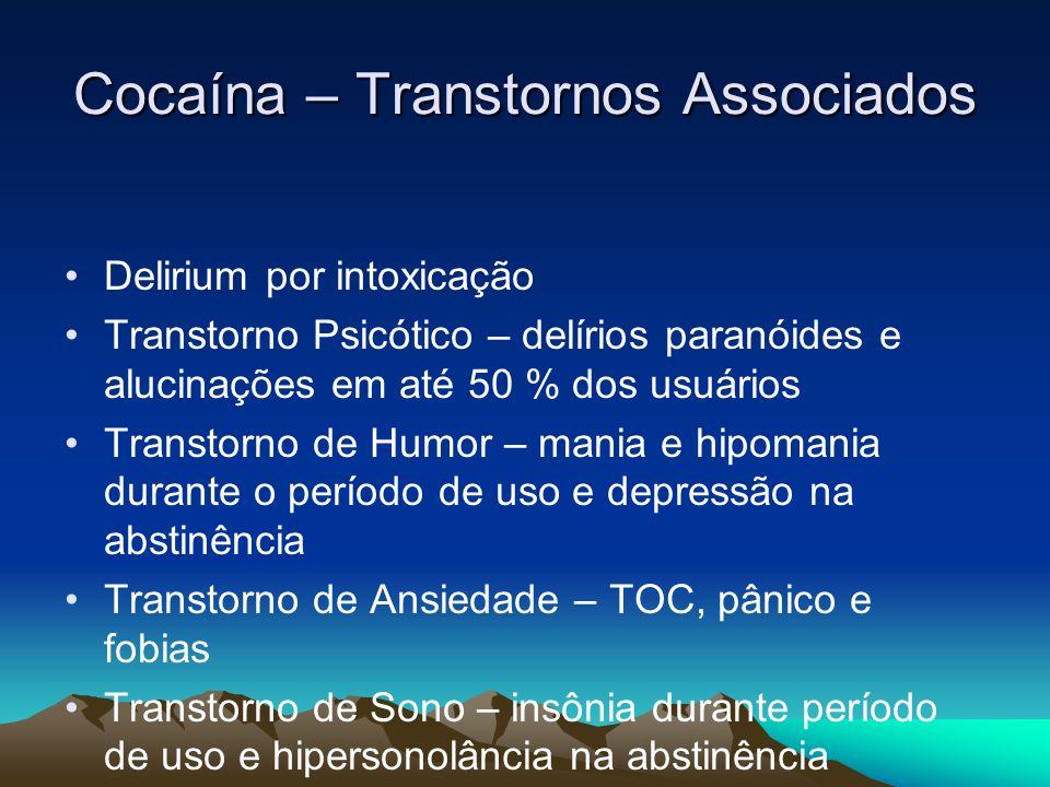 Cocaína – Transtornos Associados Delirium por intoxicação Transtorno Psicótico – delírios paranóides e alucinações em até 50 % dos usuários Transtorno