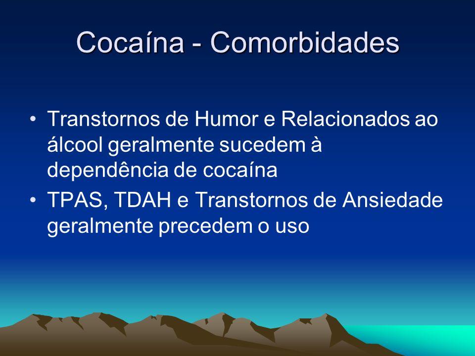 Cocaína - Comorbidades Transtornos de Humor e Relacionados ao álcool geralmente sucedem à dependência de cocaína TPAS, TDAH e Transtornos de Ansiedade