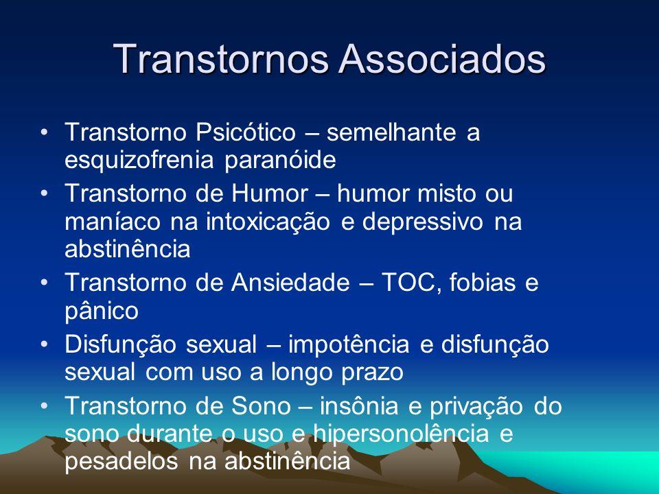 Transtornos Associados Transtorno Psicótico – semelhante a esquizofrenia paranóide Transtorno de Humor – humor misto ou maníaco na intoxicação e depre