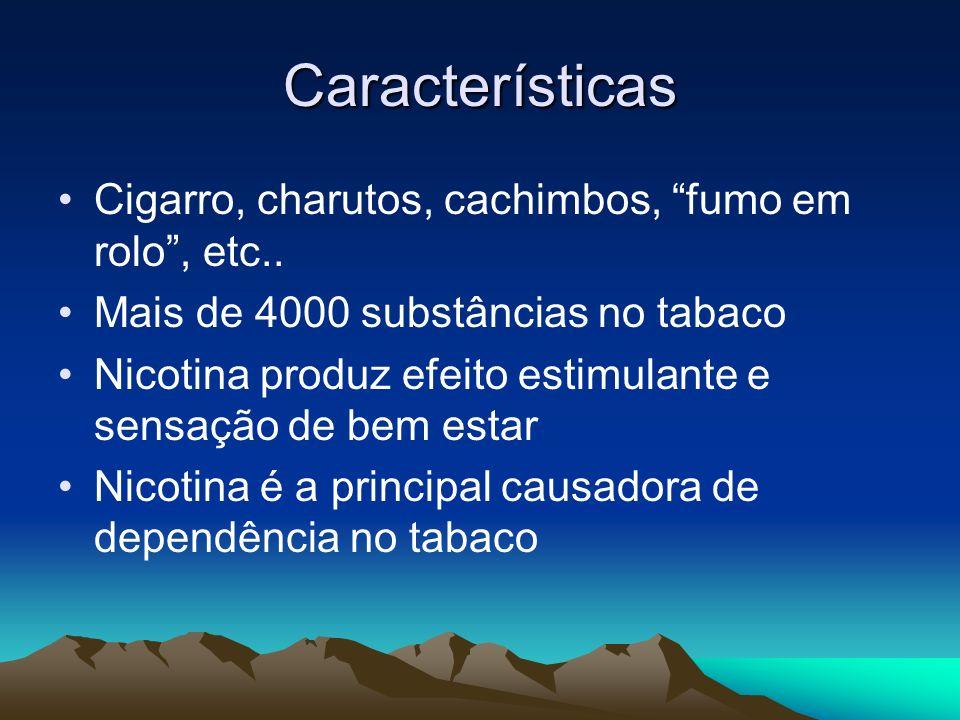 Características Cigarro, charutos, cachimbos, fumo em rolo, etc.. Mais de 4000 substâncias no tabaco Nicotina produz efeito estimulante e sensação de