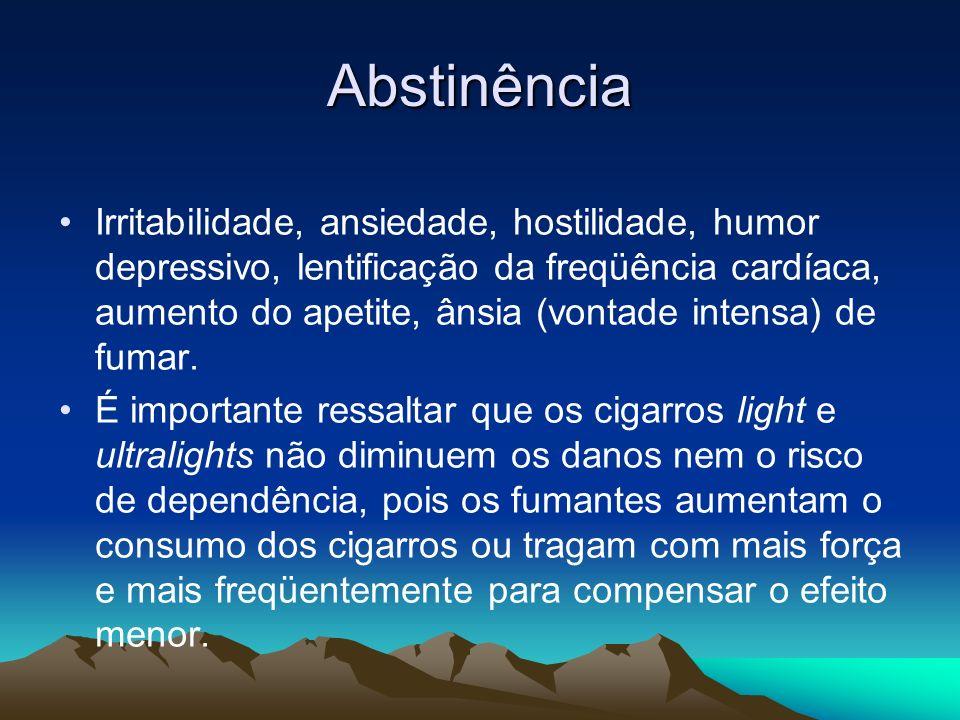 Abstinência Irritabilidade, ansiedade, hostilidade, humor depressivo, lentificação da freqüência cardíaca, aumento do apetite, ânsia (vontade intensa)