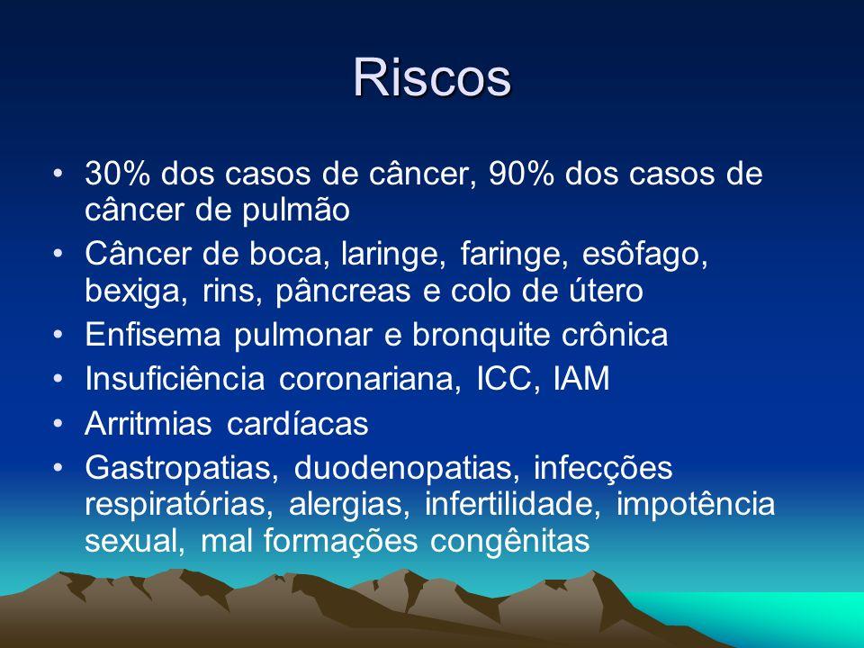 Riscos 30% dos casos de câncer, 90% dos casos de câncer de pulmão Câncer de boca, laringe, faringe, esôfago, bexiga, rins, pâncreas e colo de útero En