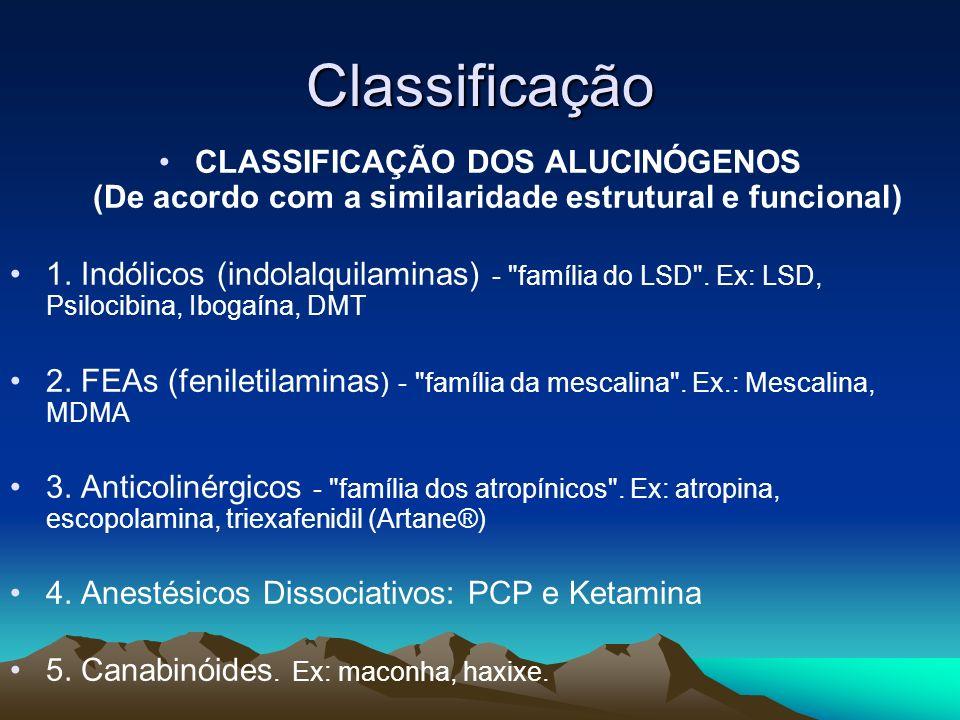 Classificação CLASSIFICAÇÃO DOS ALUCINÓGENOS (De acordo com a similaridade estrutural e funcional) 1. Indólicos (indolalquilaminas) -