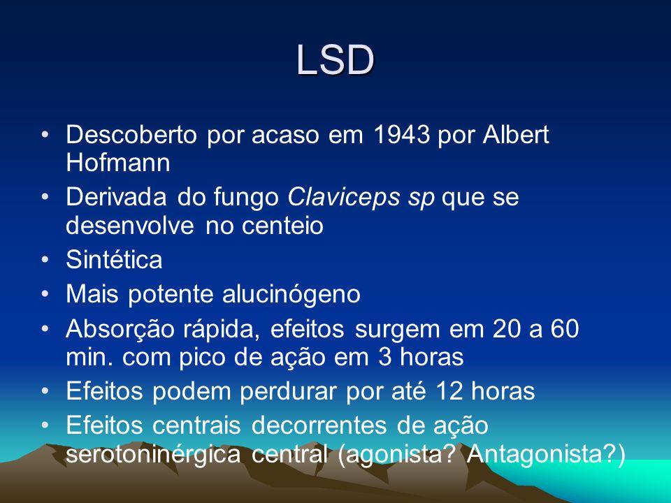 LSD Descoberto por acaso em 1943 por Albert Hofmann Derivada do fungo Claviceps sp que se desenvolve no centeio Sintética Mais potente alucinógeno Abs