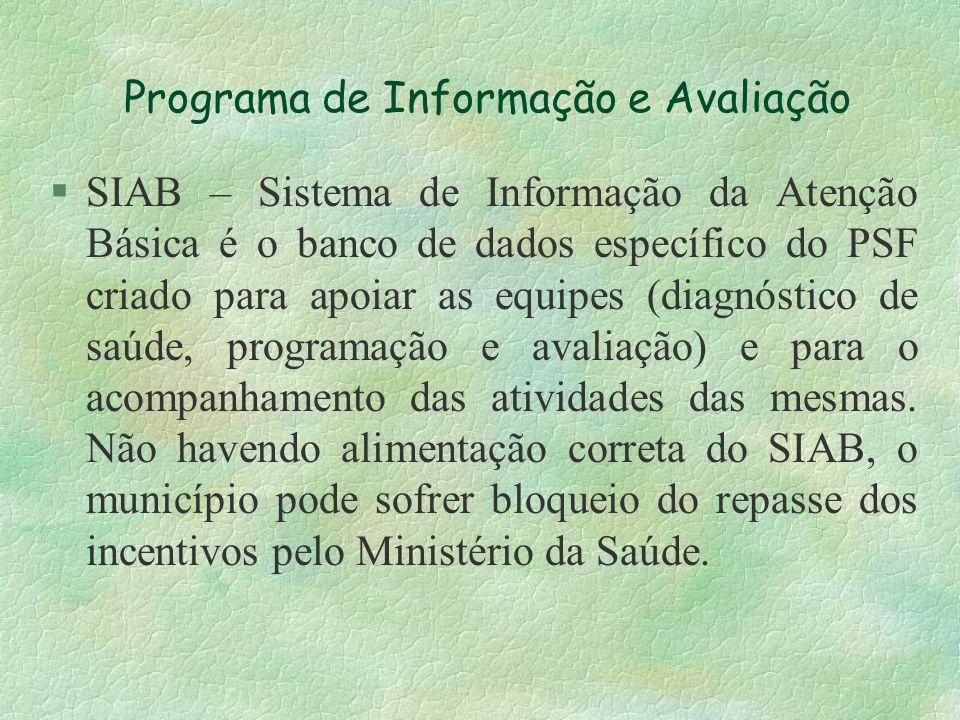 Programa de Informação e Avaliação §SIAB – Sistema de Informação da Atenção Básica é o banco de dados específico do PSF criado para apoiar as equipes