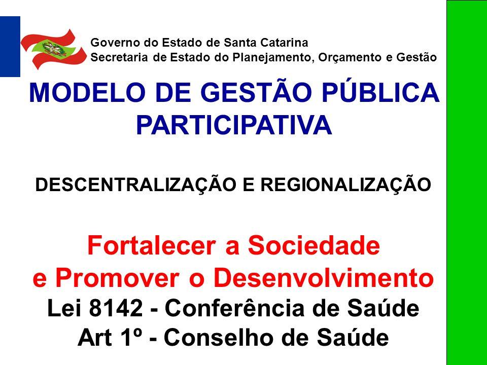 MODELO DE GESTÃO PÚBLICA PARTICIPATIVA DESCENTRALIZAÇÃO E REGIONALIZAÇÃO Fortalecer a Sociedade e Promover o Desenvolvimento Lei 8142 - Conferência de